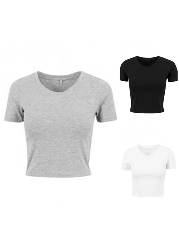 BUILD YOUR BRAND Damen Cropped Tee Crop Top T-Shirt XS S M L XL BY042